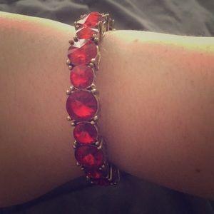 Red Bejeweled Bracelet from Tasha